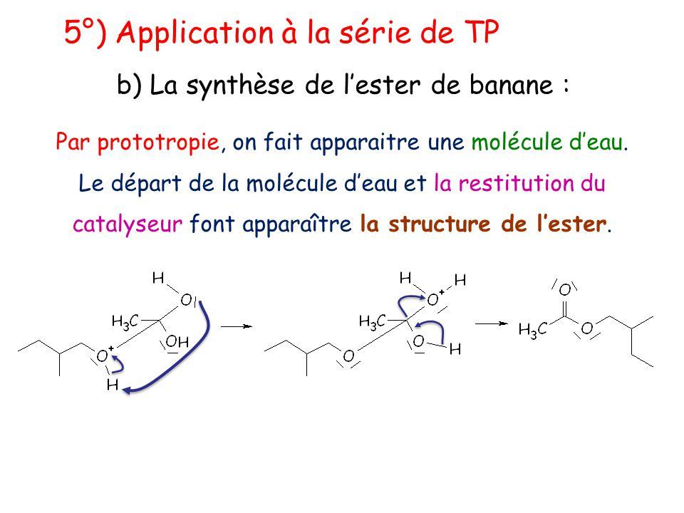 5°) Application à la série de TP b) La synthèse de l'ester de banane : Par prototropie, on fait apparaitre une molécule d'eau. Le départ de la molécul