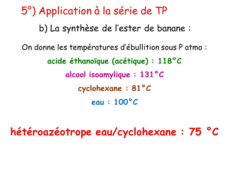5°) Application à la série de TP b) La synthèse de l'ester de banane : On donne les températures d'ébullition sous P atmo : acide éthanoïque (acétique