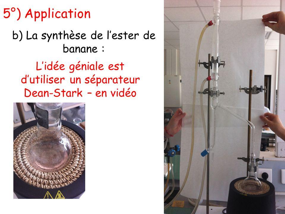 5°) Application b) La synthèse de l'ester de banane : L'idée géniale est d'utiliser un séparateur Dean-Stark – en vidéo