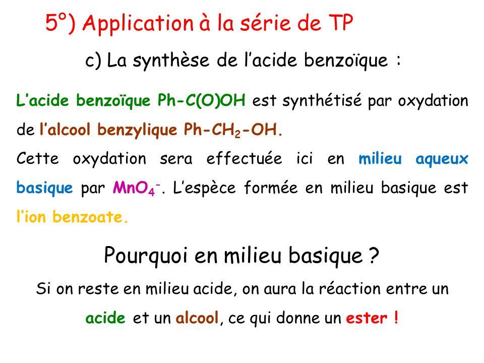 5°) Application à la série de TP c) La synthèse de l'acide benzoïque : L'acide benzoïque Ph-C(O)OH est synthétisé par oxydation de l'alcool benzylique