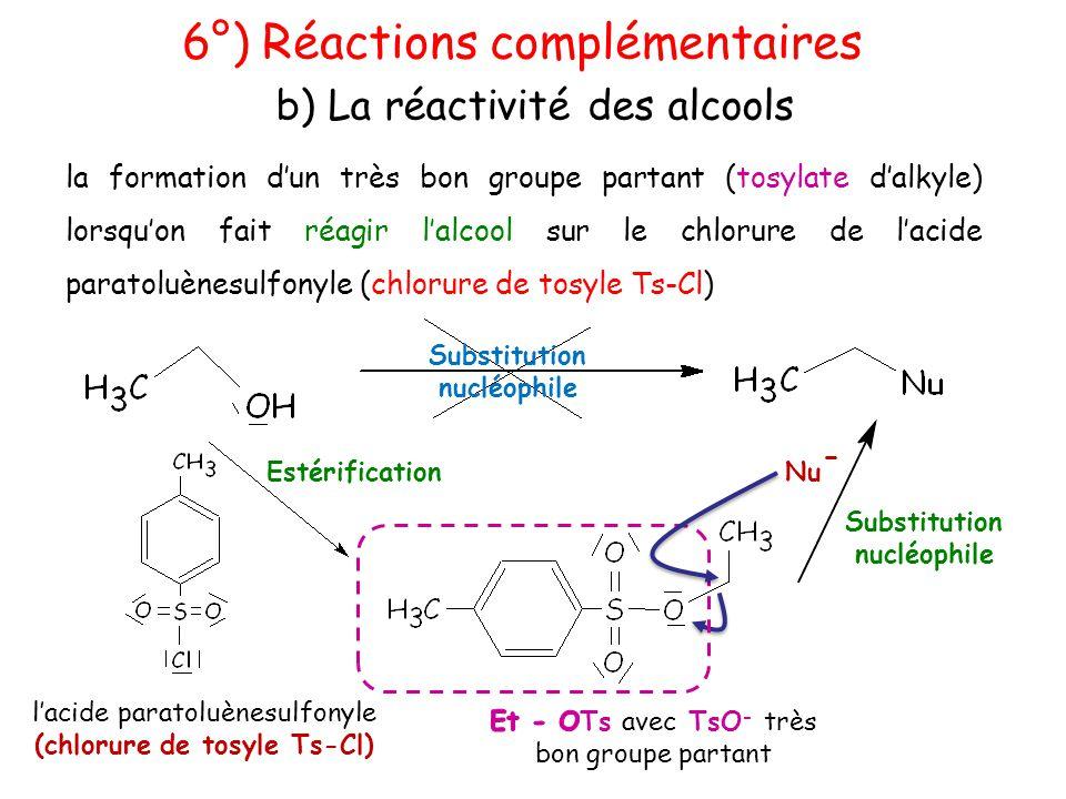 la formation d'un très bon groupe partant (tosylate d'alkyle) lorsqu'on fait réagir l'alcool sur le chlorure de l'acide paratoluènesulfonyle (chlorure
