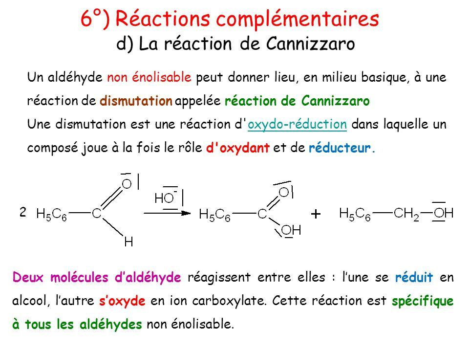 Un aldéhyde non énolisable peut donner lieu, en milieu basique, à une réaction de dismutation appelée réaction de Cannizzaro Une dismutation est une r