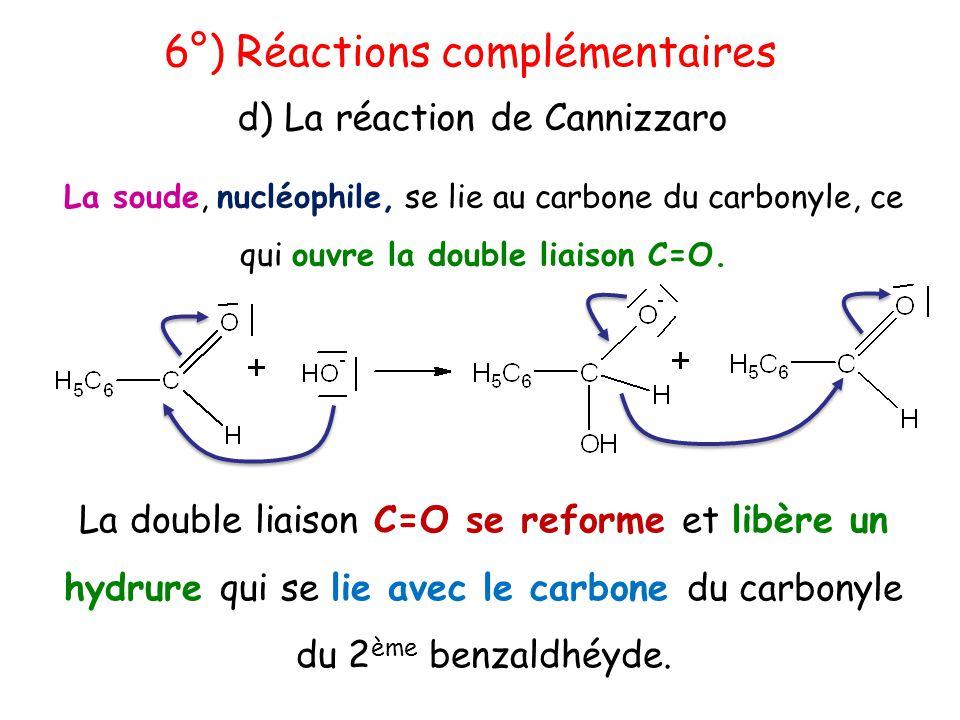 La soude, nucléophile, se lie au carbone du carbonyle, ce qui ouvre la double liaison C=O. 6°) Réactions complémentaires d) La réaction de Cannizzaro