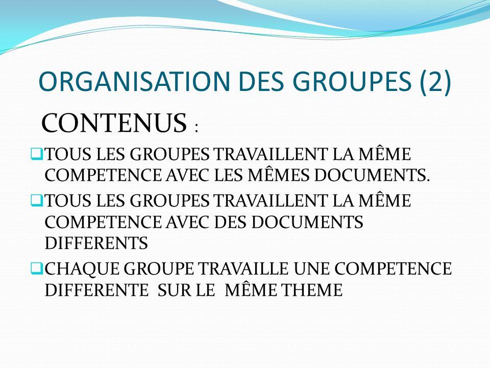ORGANISATION DES GROUPES (2) CONTENUS :  TOUS LES GROUPES TRAVAILLENT LA MÊME COMPETENCE AVEC LES MÊMES DOCUMENTS.  TOUS LES GROUPES TRAVAILLENT LA