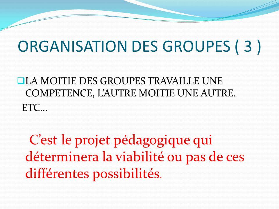 ORGANISATION DES GROUPES ( 3 )  LA MOITIE DES GROUPES TRAVAILLE UNE COMPETENCE, L'AUTRE MOITIE UNE AUTRE. ETC… C'est le projet pédagogique qui déterm