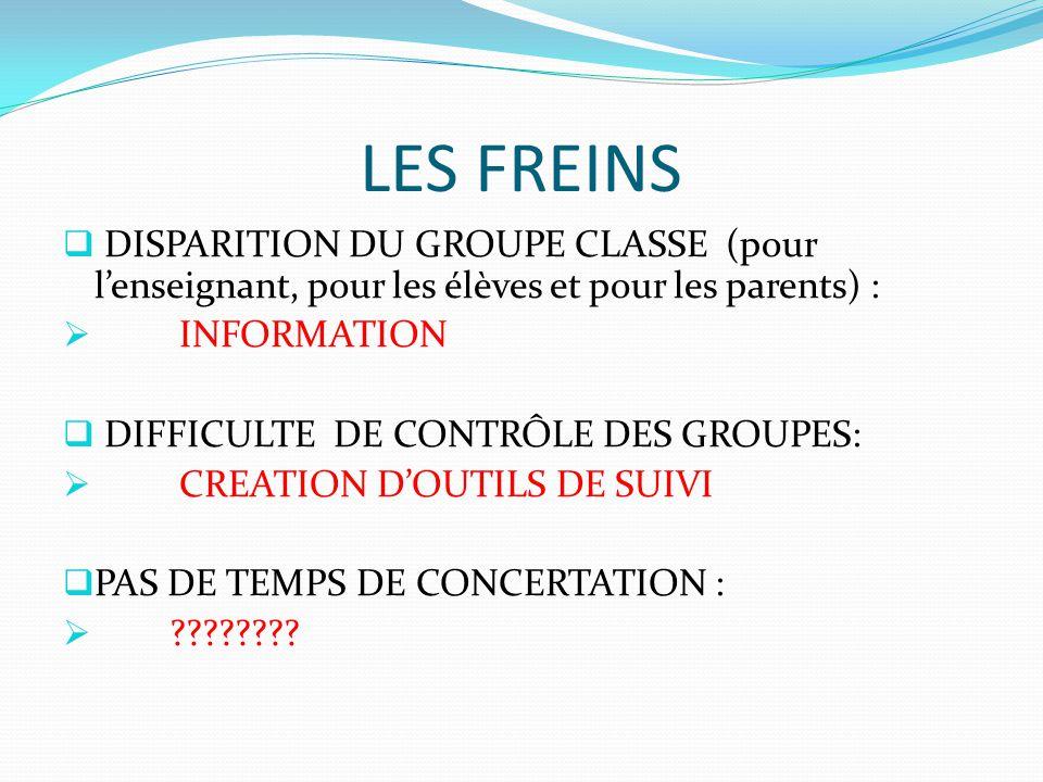 LES FREINS  DISPARITION DU GROUPE CLASSE (pour l'enseignant, pour les élèves et pour les parents) :  INFORMATION  DIFFICULTE DE CONTRÔLE DES GROUPE
