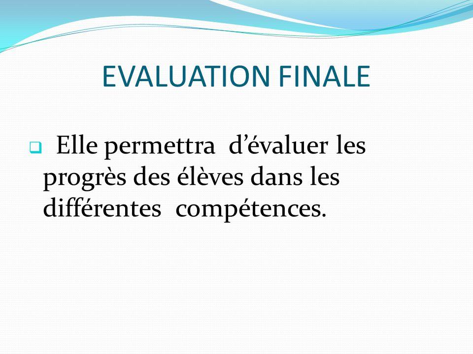 EVALUATION FINALE  Elle permettra d'évaluer les progrès des élèves dans les différentes compétences.