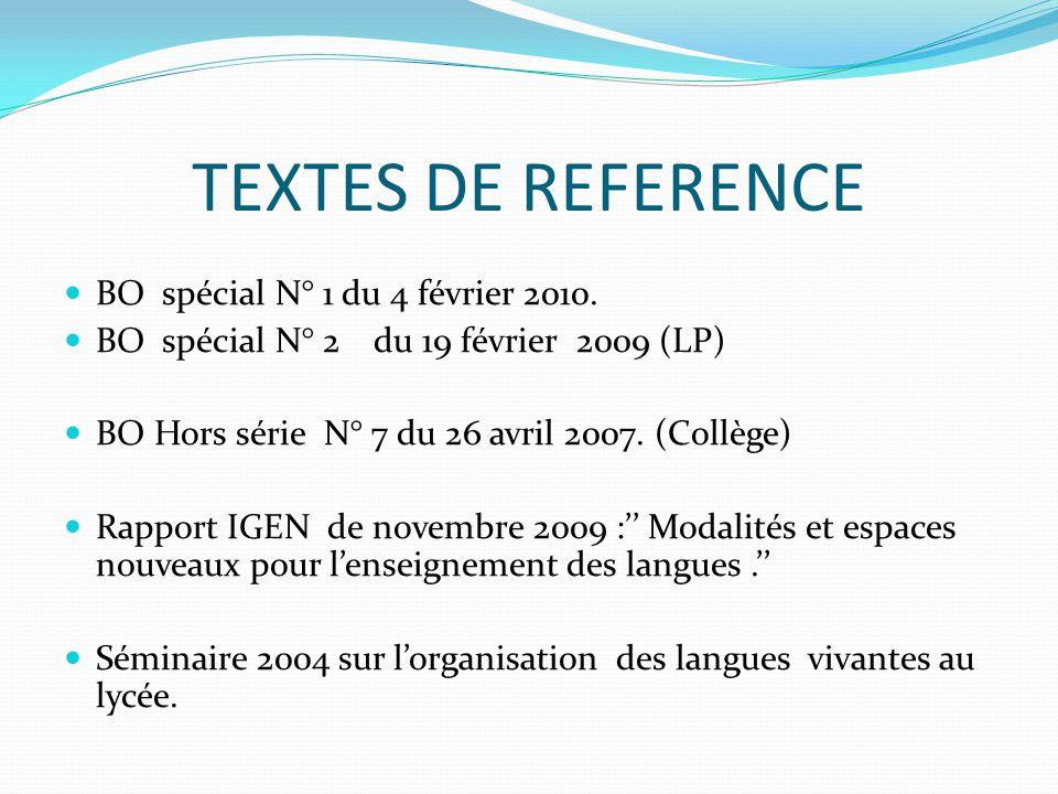 TEXTES DE REFERENCE  BO spécial N° 1 du 4 février 2010.  BO spécial N° 2 du 19 février 2009 (LP)  BO Hors série N° 7 du 26 avril 2007. (Collège) 