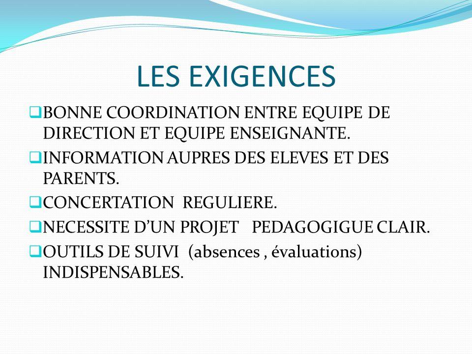 LES EXIGENCES  BONNE COORDINATION ENTRE EQUIPE DE DIRECTION ET EQUIPE ENSEIGNANTE.  INFORMATION AUPRES DES ELEVES ET DES PARENTS.  CONCERTATION REG
