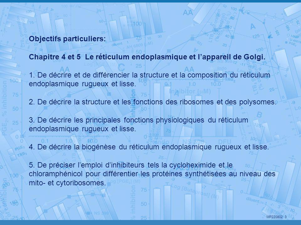 MP220802 3 Objectifs particuliers: Chapitre 4 et 5 Le réticulum endoplasmique et l'appareil de Golgi. 1. De décrire et de différencier la structure et