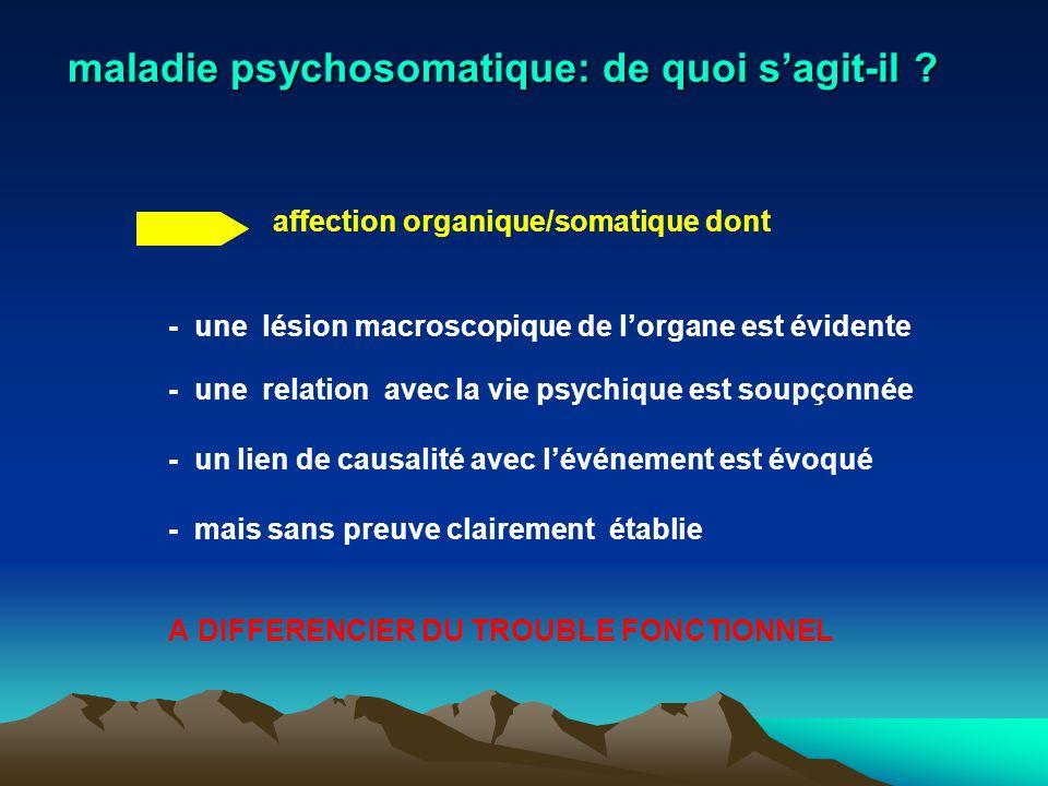 maladie psychosomatique: de quoi s'agit-il ? affection organique/somatique dont - une lésion macroscopique de l'organe est évidente - une relation ave