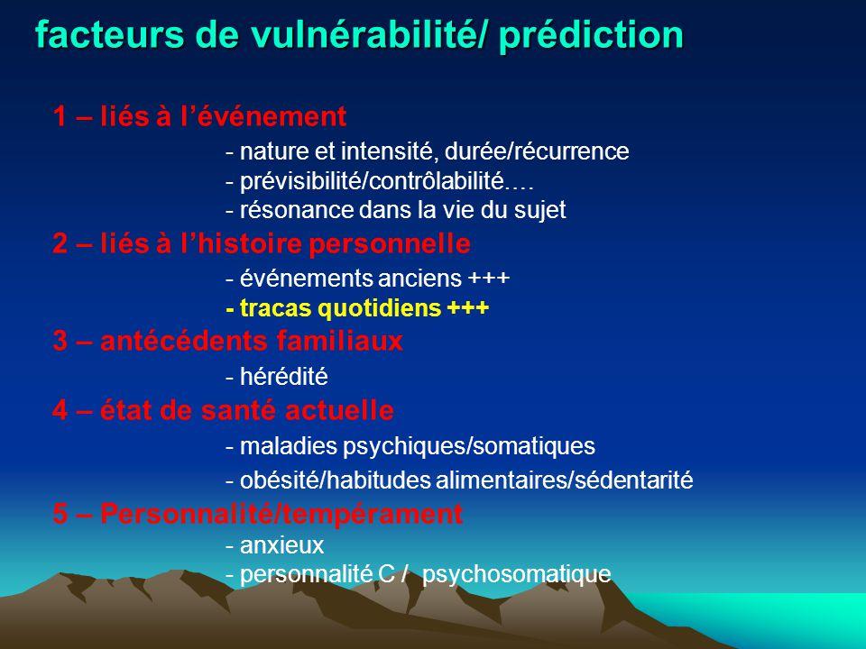 facteurs de vulnérabilité/ prédiction 1 – liés à l'événement - nature et intensité, durée/récurrence - prévisibilité/contrôlabilité…. - résonance dans
