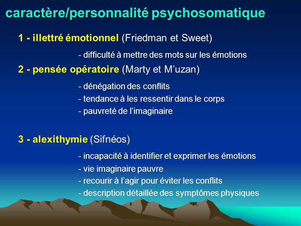 caractère/personnalité psychosomatique 1 - illettré émotionnel (Friedman et Sweet) - difficulté à mettre des mots sur les émotions 2 - pensée opératoi