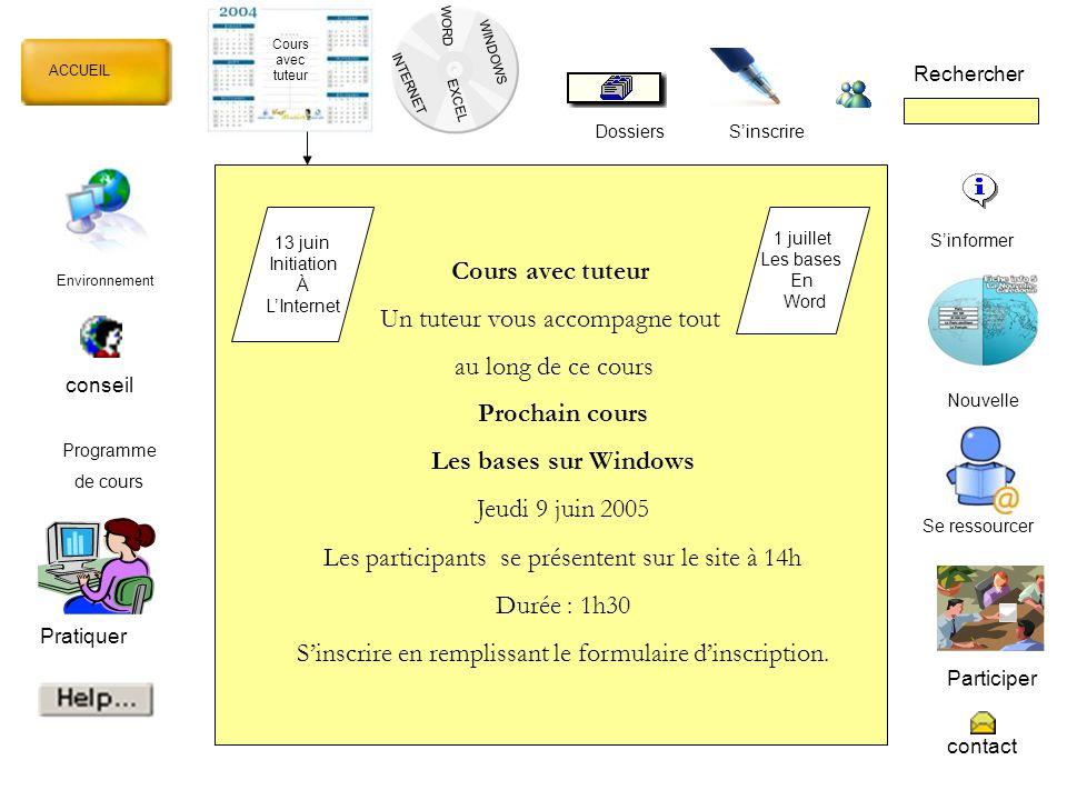 WORD INTERNET EXCEL ACCUEIL Rechercher Dossiers Cours avec tuteur S'inscrire WINDOWS Dossiers Cours InternetWordExcelWindows Initiation à l'internet Email et messagerie Notion de base Mise en forme TableauNotion de base Feuille de calcul Notion de base Présentation Ok 10-05-05 Ok 09-06-05 Marche à suivre Ok 20-05-05 Ok 13-06-05 Exercice 1 Ok 20-05-05 Exercice 2 X 20-05-05 Exercice 3 - test 4/6 Dossiers de Janine Hudicourt Entrer Pseudo Mot de passe
