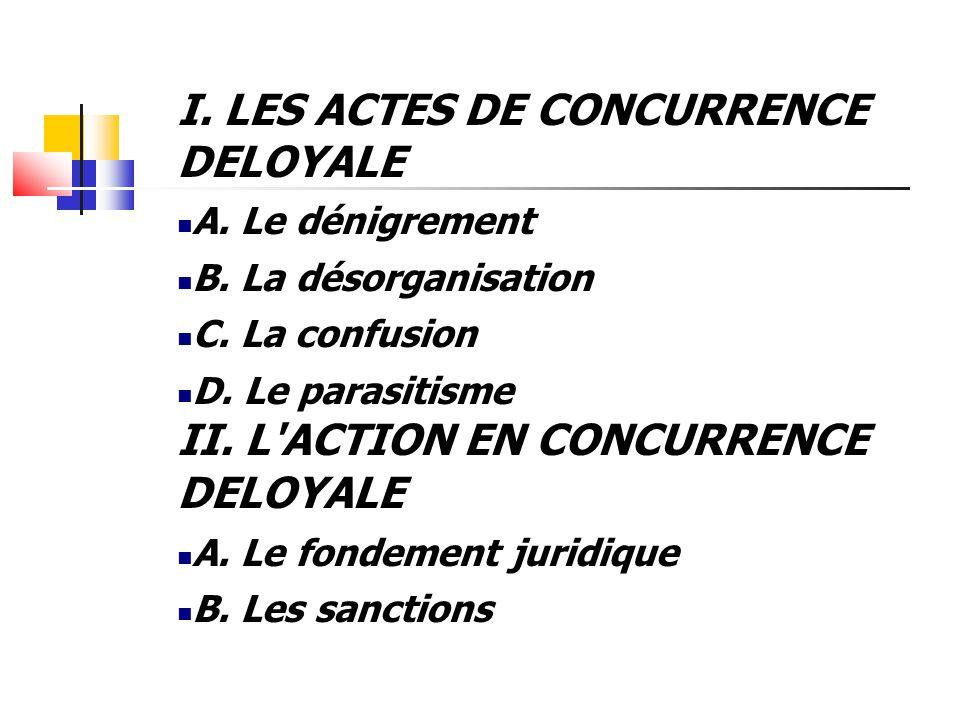 I. LES ACTES DE CONCURRENCE DELOYALE  A. Le dénigrement  B. La désorganisation  C. La confusion  D. Le parasitisme II. L'ACTION EN CONCURRENCE DEL