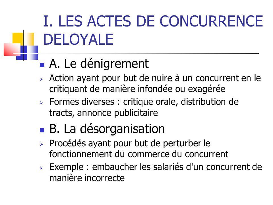 I. LES ACTES DE CONCURRENCE DELOYALE  A.