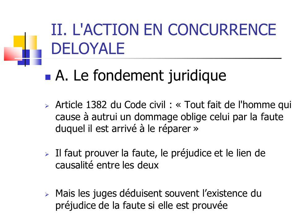 II. L'ACTION EN CONCURRENCE DELOYALE  A. Le fondement juridique  Article 1382 du Code civil : « Tout fait de l'homme qui cause à autrui un dommage o