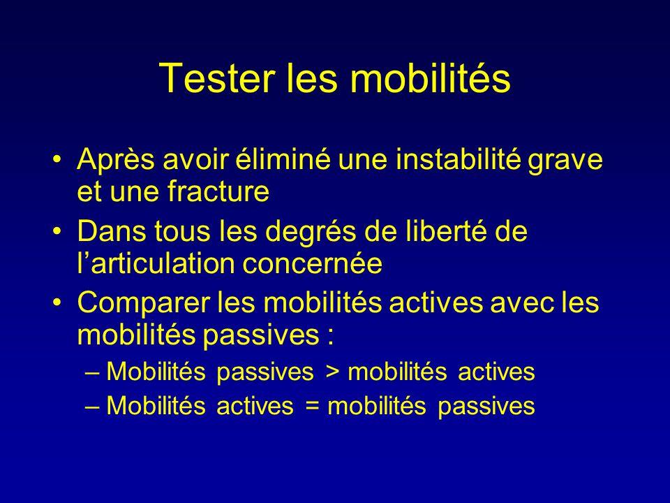 Tester les mobilités •Après avoir éliminé une instabilité grave et une fracture •Dans tous les degrés de liberté de l'articulation concernée •Comparer