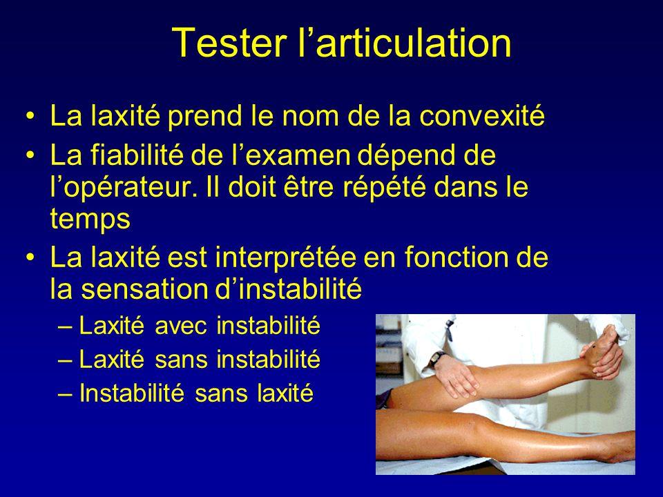 Tester l'articulation •La laxité prend le nom de la convexité •La fiabilité de l'examen dépend de l'opérateur. Il doit être répété dans le temps •La l