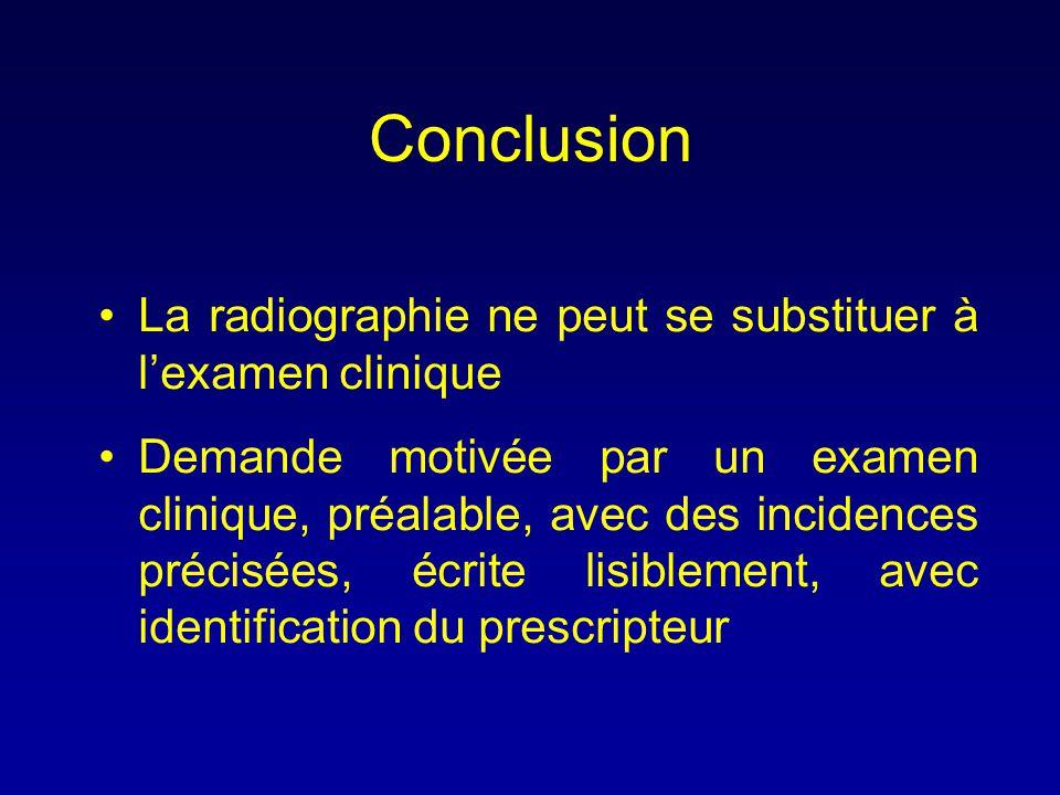 Conclusion •La radiographie ne peut se substituer à l'examen clinique •Demande motivée par un examen clinique, préalable, avec des incidences précisée