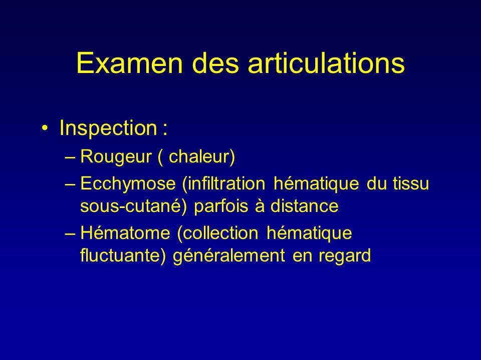 Examen des articulations •Inspection : –Rougeur ( chaleur) –Ecchymose (infiltration hématique du tissu sous-cutané) parfois à distance –Hématome (coll