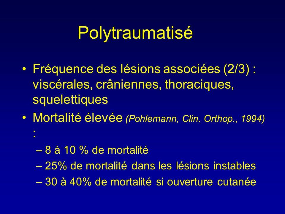 Polytraumatisé •Fréquence des lésions associées (2/3) : viscérales, crâniennes, thoraciques, squelettiques •Mortalité élevée (Pohlemann, Clin. Orthop.
