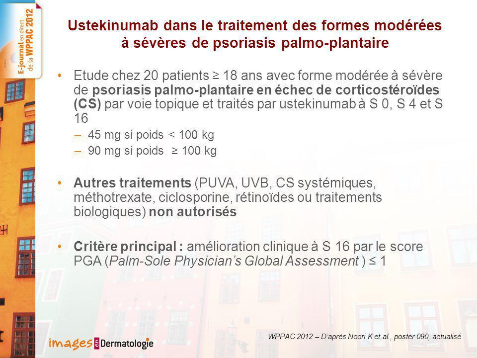 Résultats (1) : 35 % des patients ont atteint l'objectif principal et 60 % ont amélioré leur score PGA d'au moins 2 points WPPAC 2012 – D'après Noori K et al., poster 090, actualisé Variation du score PGA de S0 à S16 90 mg : 67 % 45 mg : 9 % % atteignant un score PGA 0 ou 1 Critère principal