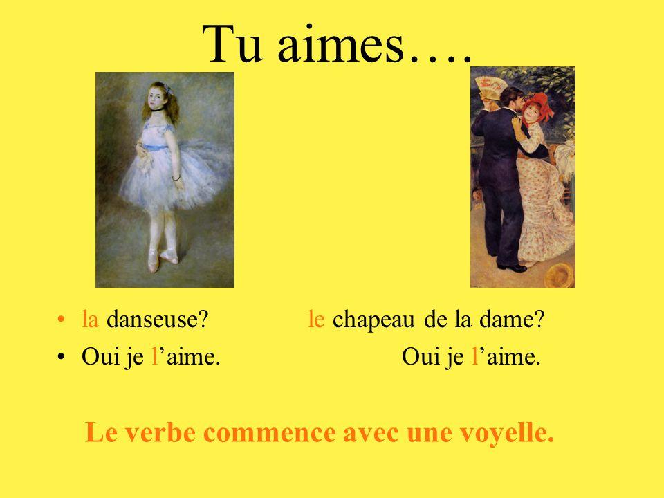 Tu aimes….•la danseuse. le chapeau de la dame. •Oui je l'aime.