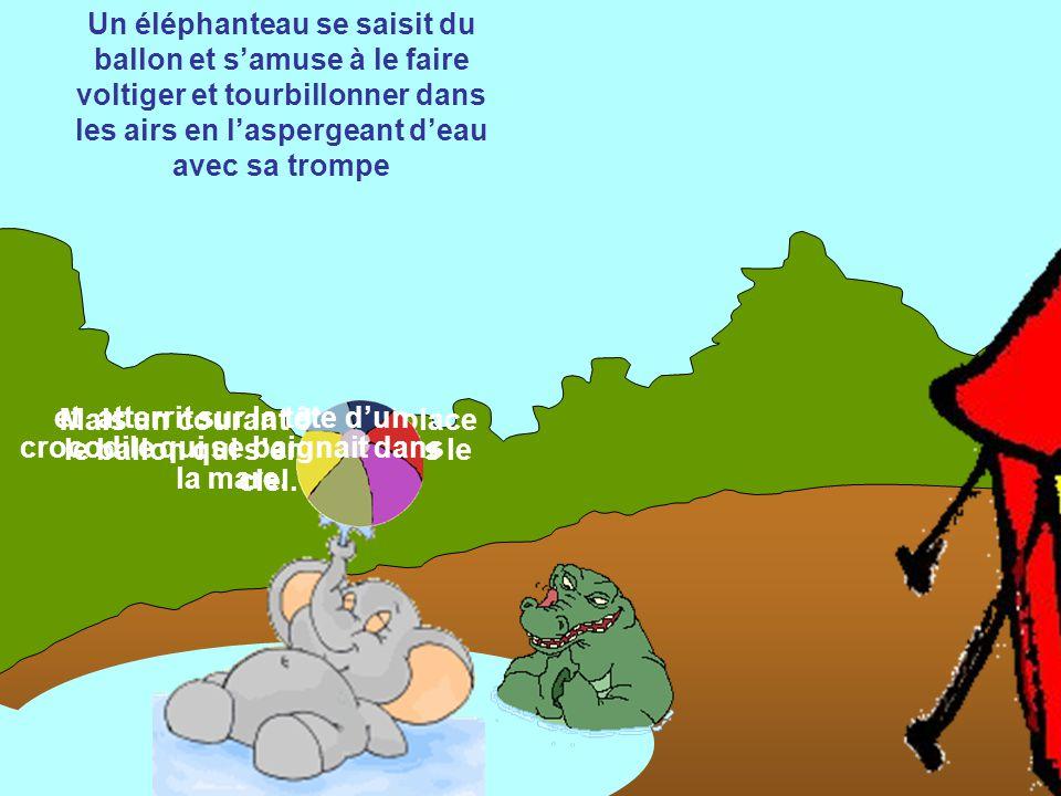 Captivée par l'élégance de la girafe, Léontine lâche son ballon qui roule vers l'enclos aux éléphants.