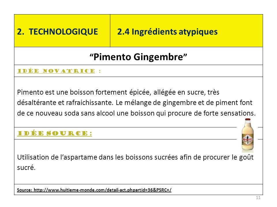 """2. TECHNOLOGIQUE 2.4 Ingrédients atypiques """" Pimento Gingembre """" Idée novatrice : Pimento est une boisson fortement épicée, allégée en sucre, très dés"""