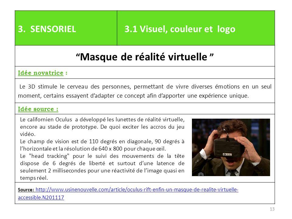 """3. SENSORIEL 3.1 Visuel, couleur et logo """" Masque de réalité virtuelle """" Idée novatrice : Le 3D stimule le cerveau des personnes, permettant de vivre"""