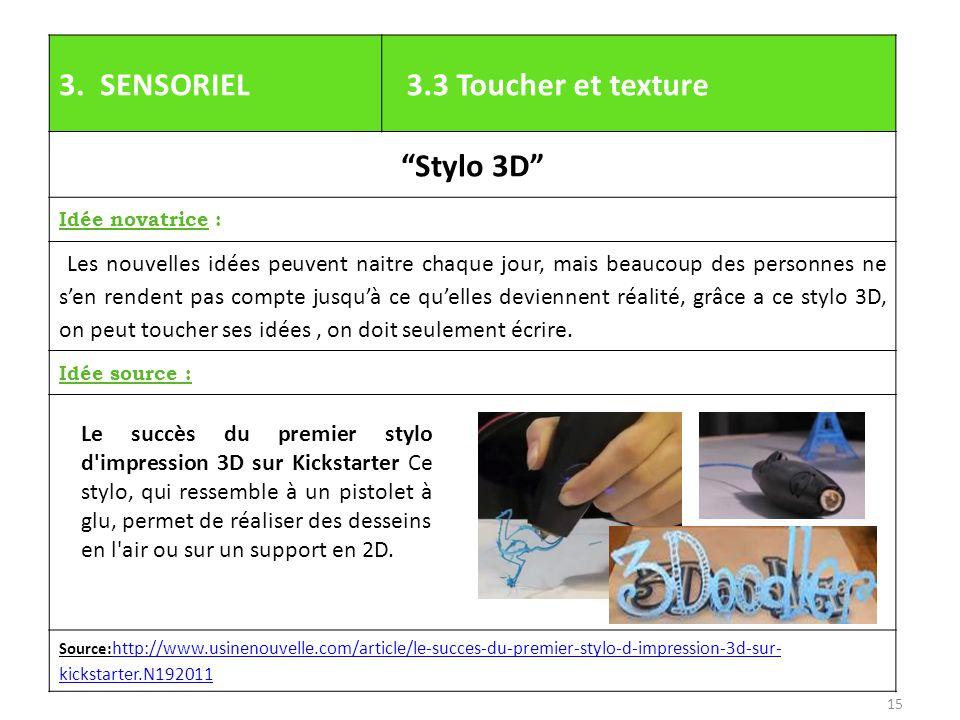 """3. SENSORIEL 3.3 Toucher et texture """"Stylo 3D"""" Idée novatrice : Les nouvelles idées peuvent naitre chaque jour, mais beaucoup des personnes ne s'en re"""