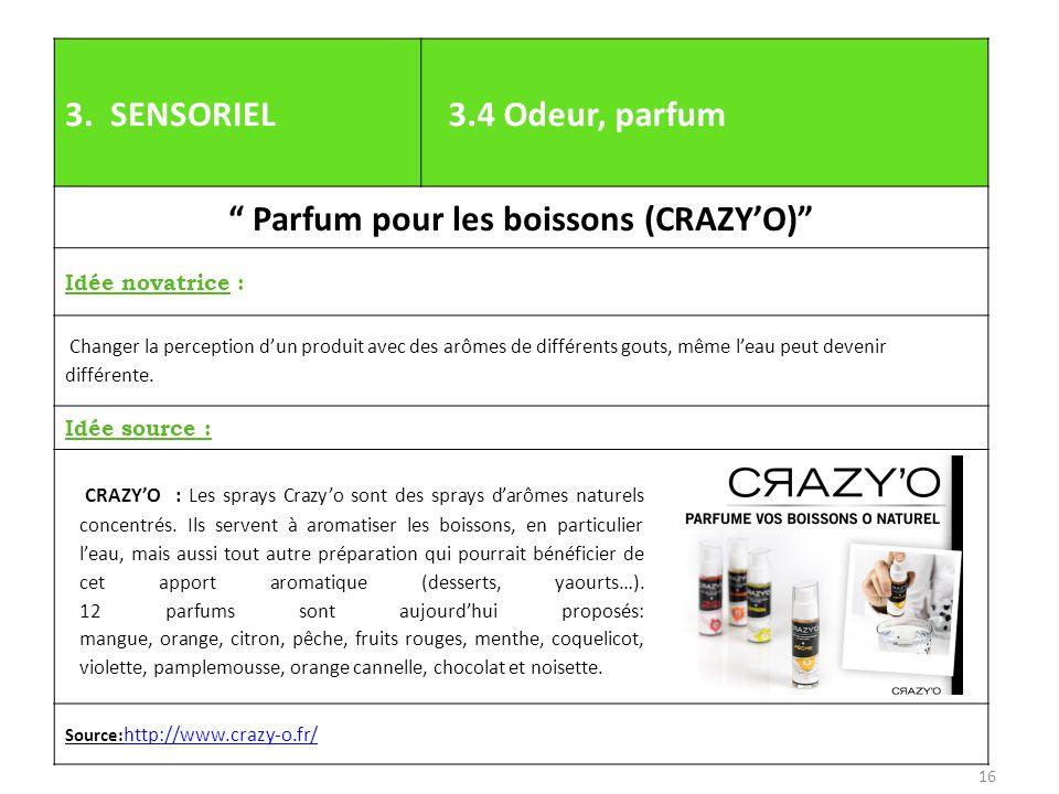 """3. SENSORIEL 3.4 Odeur, parfum """" Parfum pour les boissons (CRAZY'O)"""" Idée novatrice : Changer la perception d'un produit avec des arômes de différents"""