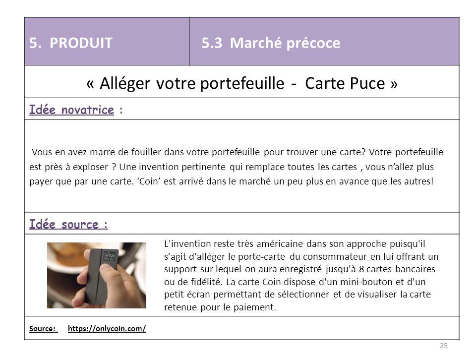 5. PRODUIT 5.3 Marché précoce « Alléger votre portefeuille - Carte Puce » Idée novatrice : Vous en avez marre de fouiller dans votre portefeuille pour