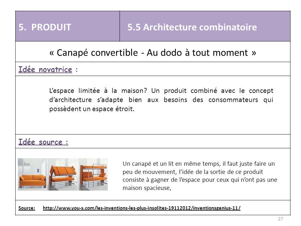 5. PRODUIT 5.5 Architecture combinatoire « Canapé convertible - Au dodo à tout moment » Idée novatrice : Idée source : Source: http://www.you-s.com/le
