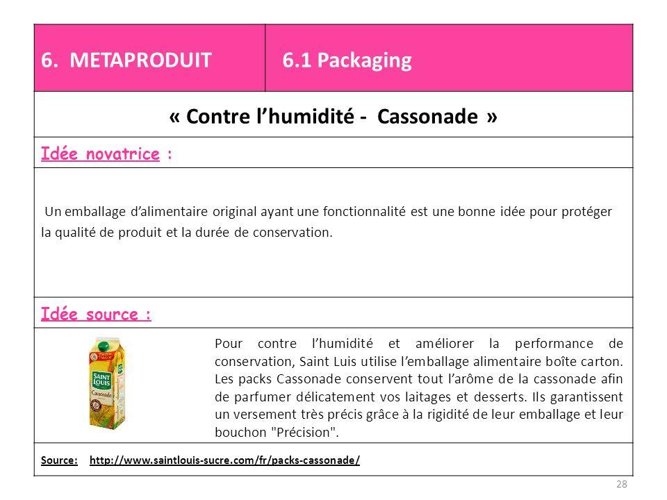 6. METAPRODUIT 6.1 Packaging « Contre l'humidité - Cassonade » Idée novatrice : Un emballage d'alimentaire original ayant une fonctionnalité est une b