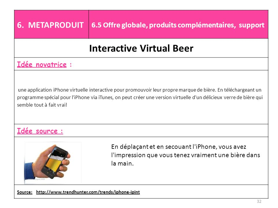 6. METAPRODUIT 6.5 Offre globale, produits complémentaires, support Interactive Virtual Beer Idée novatrice : une application iPhone virtuelle interac