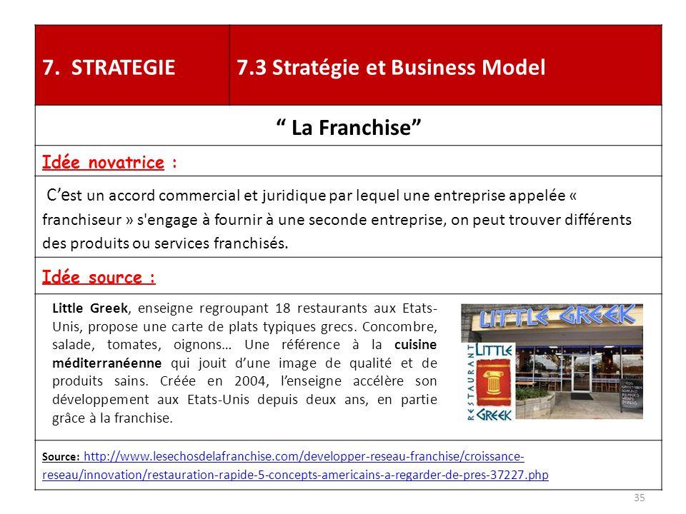 """7. STRATEGIE7.3 Stratégie et Business Model """" La Franchise"""" Idée novatrice : C'e st un accord commercial et juridique par lequel une entreprise appelé"""