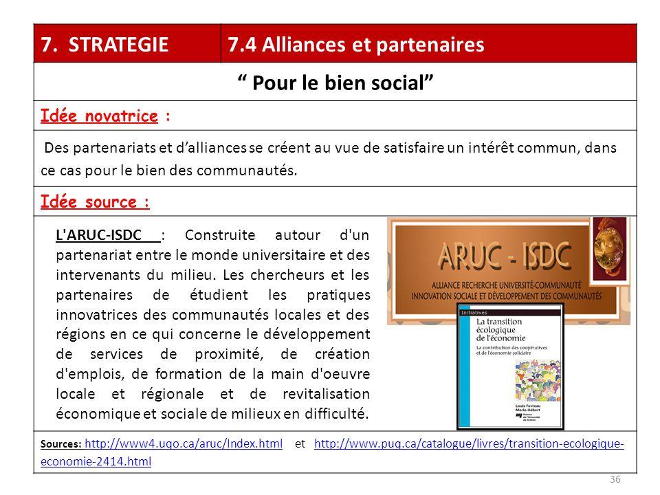 """7. STRATEGIE7.4 Alliances et partenaires """" Pour le bien social"""" Idée novatrice : Des partenariats et d'alliances se créent au vue de satisfaire un int"""