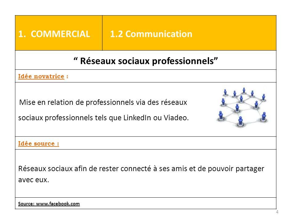 """1. COMMERCIAL 1.2 Communication """" Réseaux sociaux professionnels"""" Idée novatrice : Mise en relation de professionnels via des réseaux sociaux professi"""