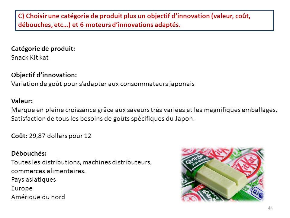 C) Choisir une catégorie de produit plus un objectif d'innovation (valeur, coût, débouches, etc…) et 6 moteurs d'innovations adaptés. Catégorie de pro