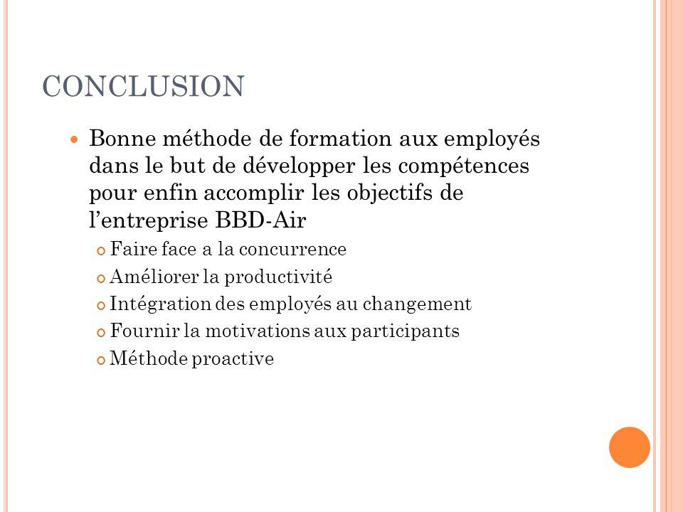 CONCLUSION  Bonne méthode de formation aux employés dans le but de développer les compétences pour enfin accomplir les objectifs de l'entreprise BBD-
