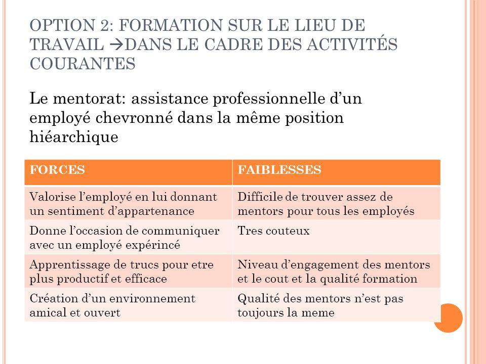 Le mentorat: assistance professionnelle d'un employé chevronné dans la même position hiéarchique OPTION 2: FORMATION SUR LE LIEU DE TRAVAIL  DANS LE