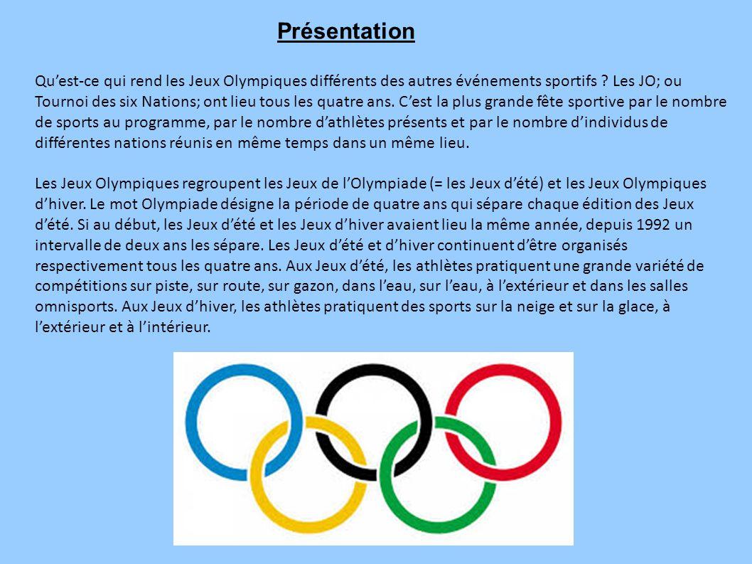Qu'est-ce qui rend les Jeux Olympiques différents des autres événements sportifs ? Les JO; ou Tournoi des six Nations; ont lieu tous les quatre ans. C
