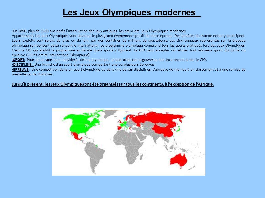 Les Jeux Olympiques modernes -En 1896, plus de 1500 ans après l'interruption des Jeux antiques, les premiers Jeux Olympiques modernes Apparaissent. Le