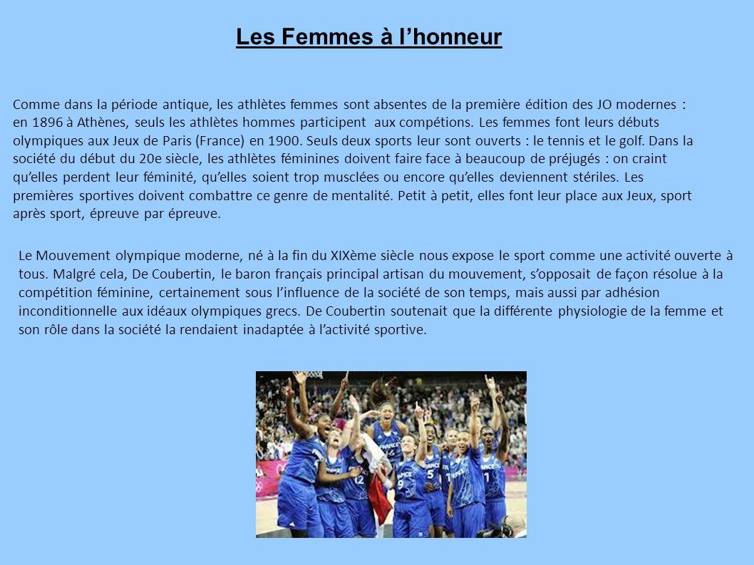 Comme dans la période antique, les athlètes femmes sont absentes de la première édition des JO modernes : en 1896 à Athènes, seuls les athlètes hommes