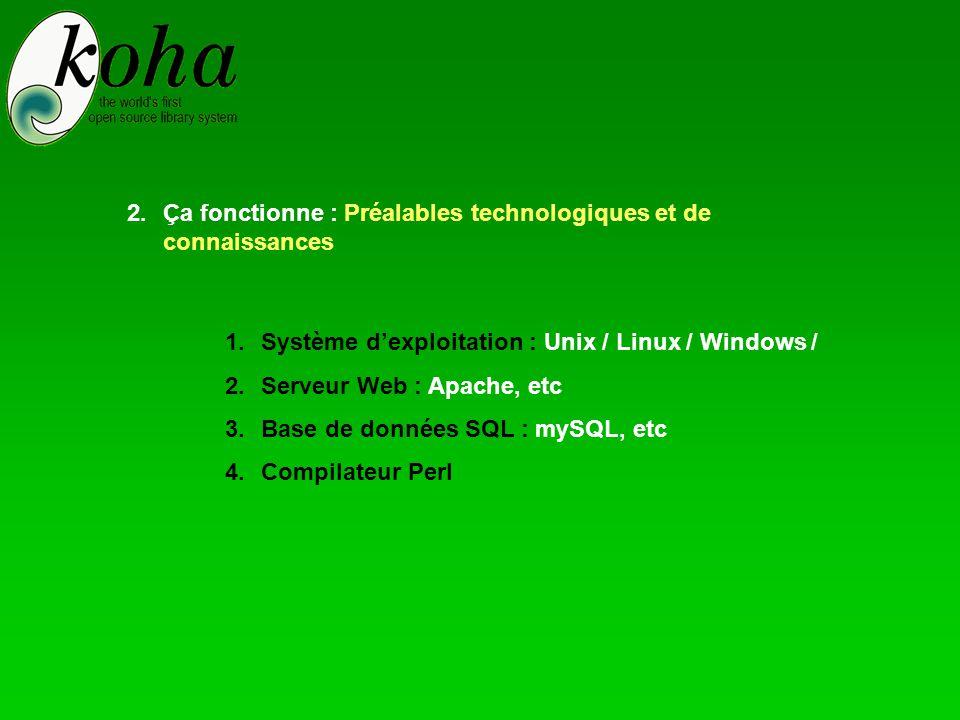 1.Système d'exploitation : Unix / Linux / Windows / 2.Serveur Web : Apache, etc 3.Base de données SQL : mySQL, etc 4.Compilateur Perl 2.Ça fonctionne : Préalables technologiques et de connaissances