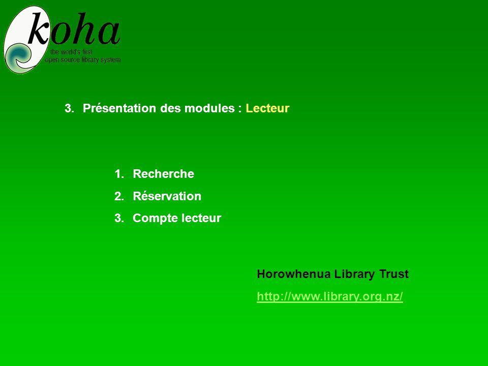 1.Recherche 2.Réservation 3.Compte lecteur 3.Présentation des modules : Lecteur Horowhenua Library Trust http://www.library.org.nz/