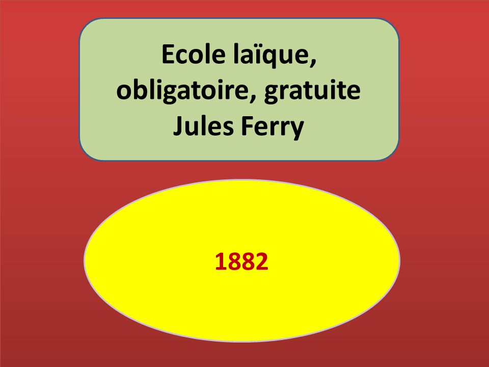 Ecole laïque, obligatoire, gratuite Jules Ferry 1882
