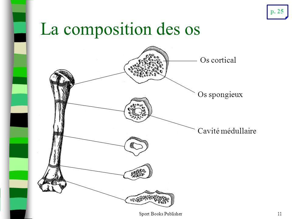 Sport Books Publisher11 La composition des os Os cortical Os spongieux Cavité médullaire p. 25